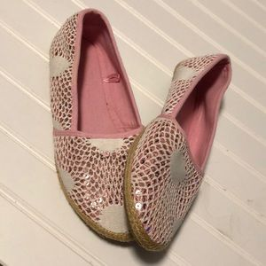 New Pink Lace Flat Shoes Size 8